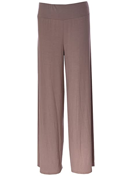 b7d48eb06602 RIDDLED WITH STYLE Plus Size Womens Plain Palazzo Wide Leg Flared Ladies  Printed Trousers Pants 8-26  Amazon.co.uk  Clothing