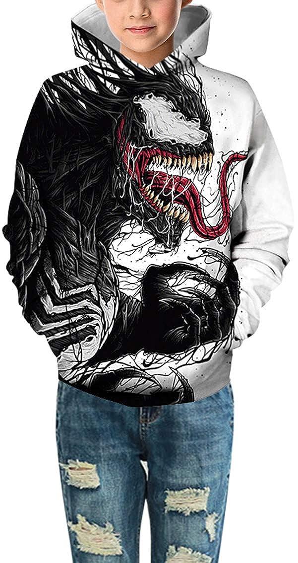 Pandolah Boys 3D Patterns Animal Print Pocket Hoodie Pullover Sweatshirt