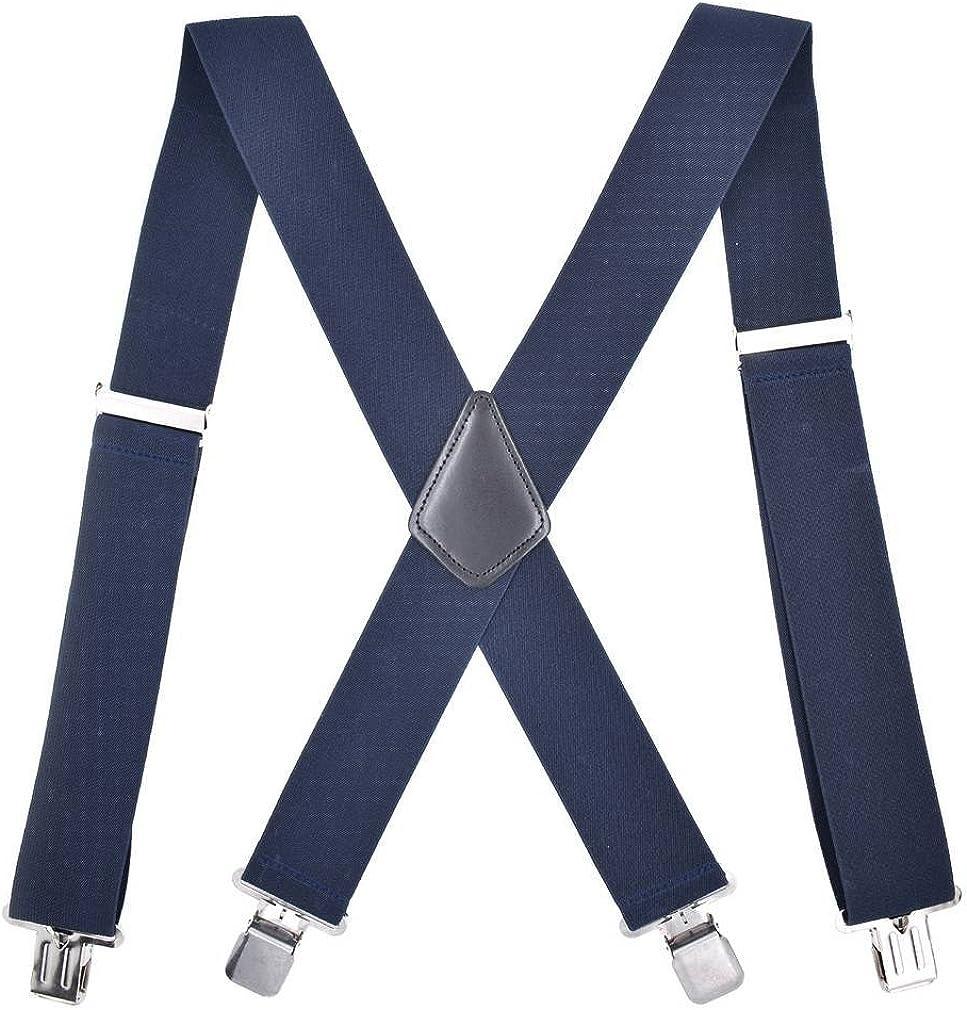 COMVIP Mens X-back Elastic Adjustable Wide Straps Braces Suspenders