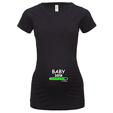 ShirtWorld - Baby Loading 2018 - Damen Stretch T-Shirt Extralang Schwarz S