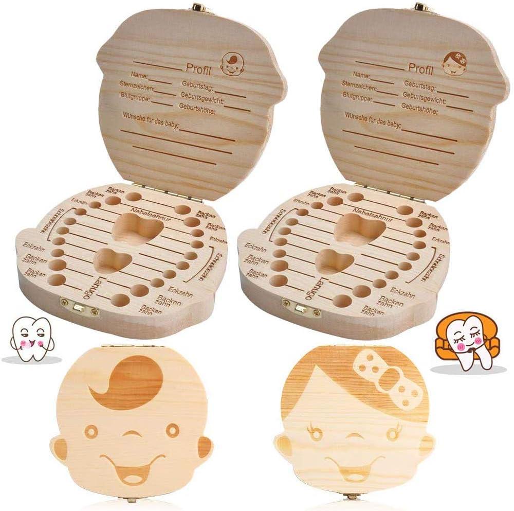 texto bebé dientes caja, BESTZY 2Pcs save cajas de madera personalizada caja de recuerdos de hoja caduca, personalizar personalizada bebé dientes caja (Niño): Amazon.es: Bebé