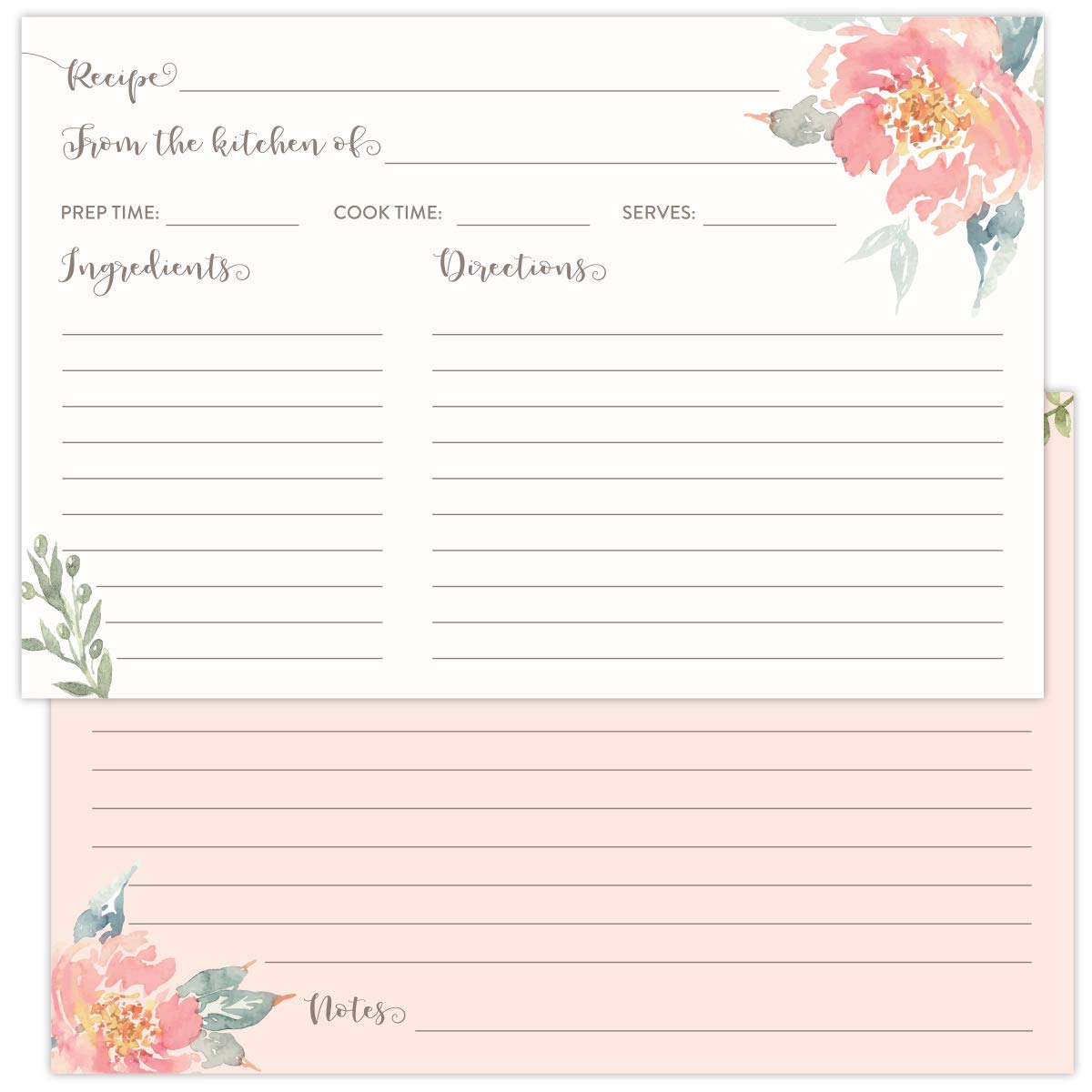 Koko Paper Co Pack of 50 4x6 Recipe Cards with with Light Pink Florals. Perfect for Bridal Showers, Fits in Standard 4x6 Recipe Card Box Holders. by Koko Paper Co