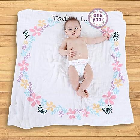 LifeTree Bebé Recién Nacido Hito Manta con Tarjetas Baby para ...