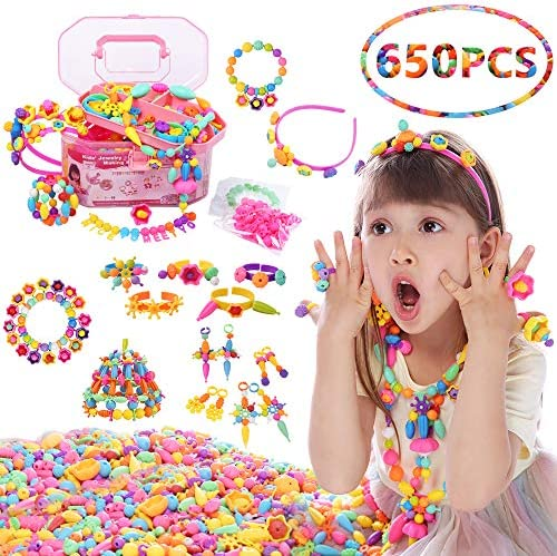 QIAOKUAN Pop Beads 650+PCS Jewelry Making Kit for Kids 345678 Year Old Pop Snap Beads DIY Set Making HairbandNecklacesBraceletsRingsEarringsArt&Crafts Creativity Toys for Toddlers Gifts