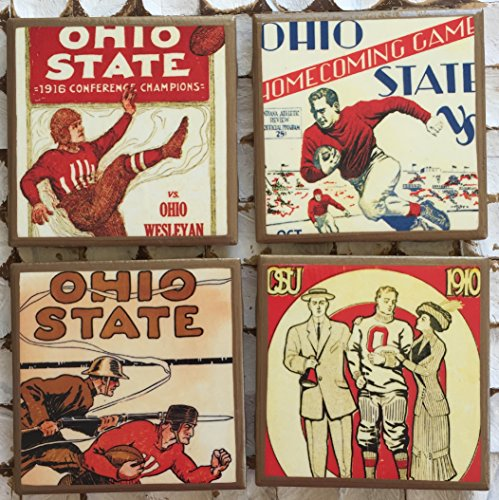 (Ohio State vintage program cover coasters with gold trim)