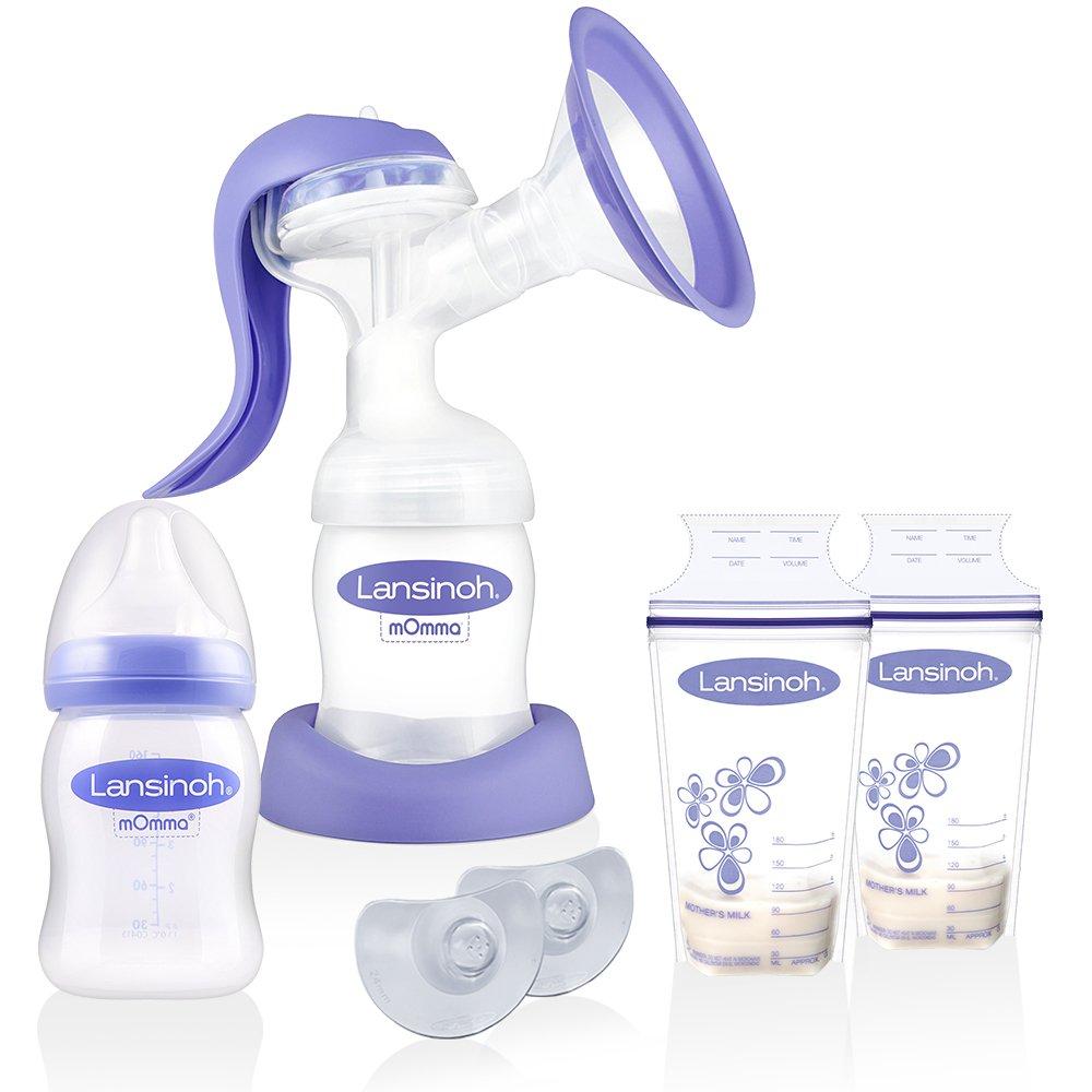 Lansinoh Handmilchpumpe 2-Phasen & Membrantechnologie -- NaturalWave Sauger -- ab Geburt -- 2 x Lansinoh Muttermilchbeutel -
