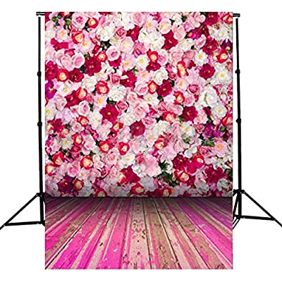 3-5 Business Days FAST Delivery Romantic Pink Flowers Peach Blossom Spring Flowers Wooden Floor Studio Photo Photography Background Backdrop Props for Wedding,Personal Photo,Newborn Photo 3x5ft