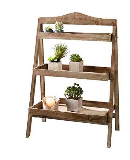 Charming Foldable Wooden Plant Stand For Outdoor Or Greenhouse, Three Shelves  Product SKU: GD221582