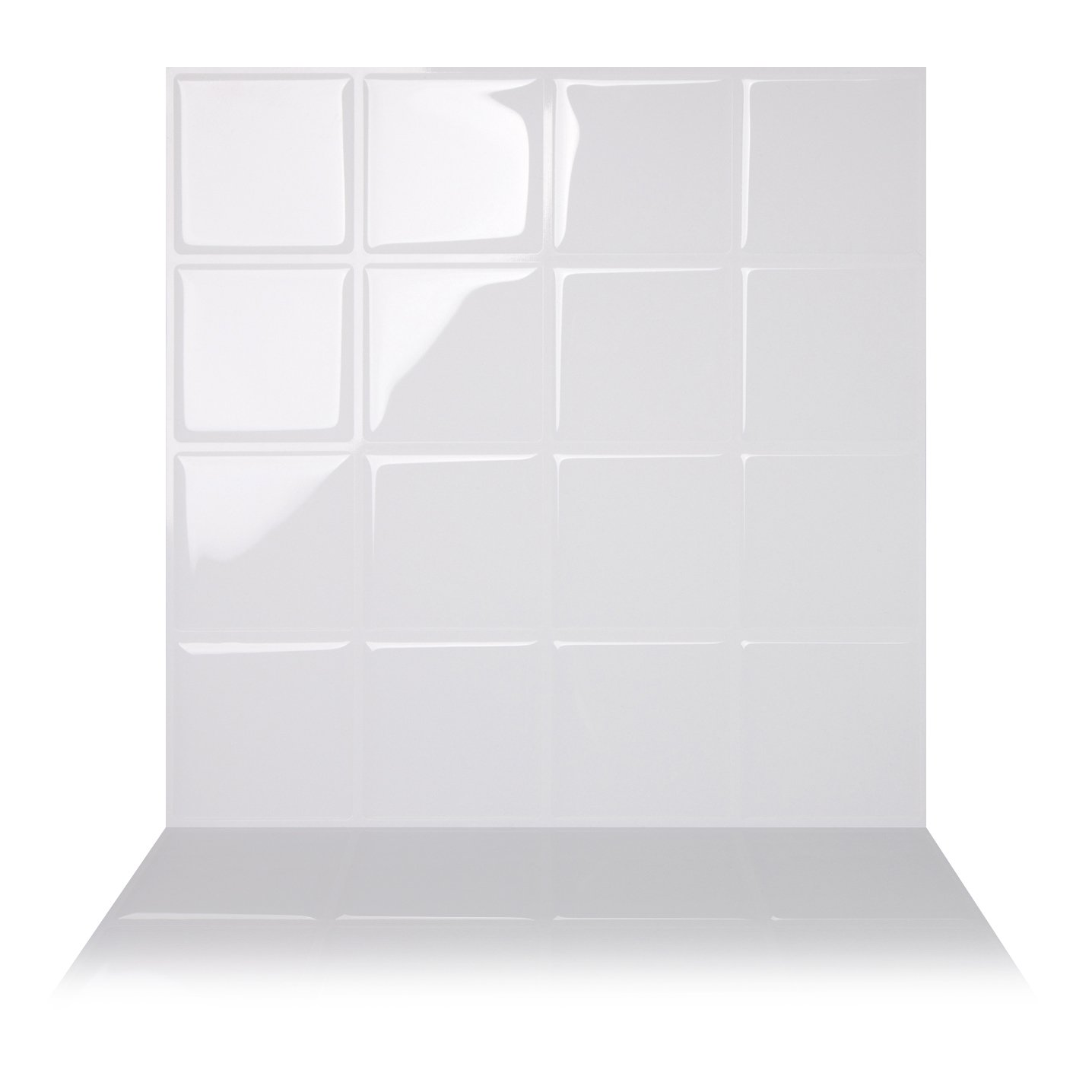 Tic Tac Tiles Premium Anti Mold Peel and Stick Wall Tile in Big Square White (10 Tiles, White)