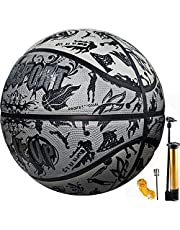 Senston Street Basketball Size 7 with Pump, Adults Kids Basketball Rubber Ball Indoor Outdoor Use