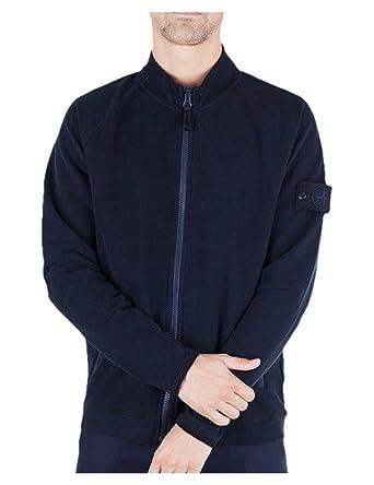 Stone Island Plush Pullover Sweatshirt Dark Navy With Zip Ghost Xl