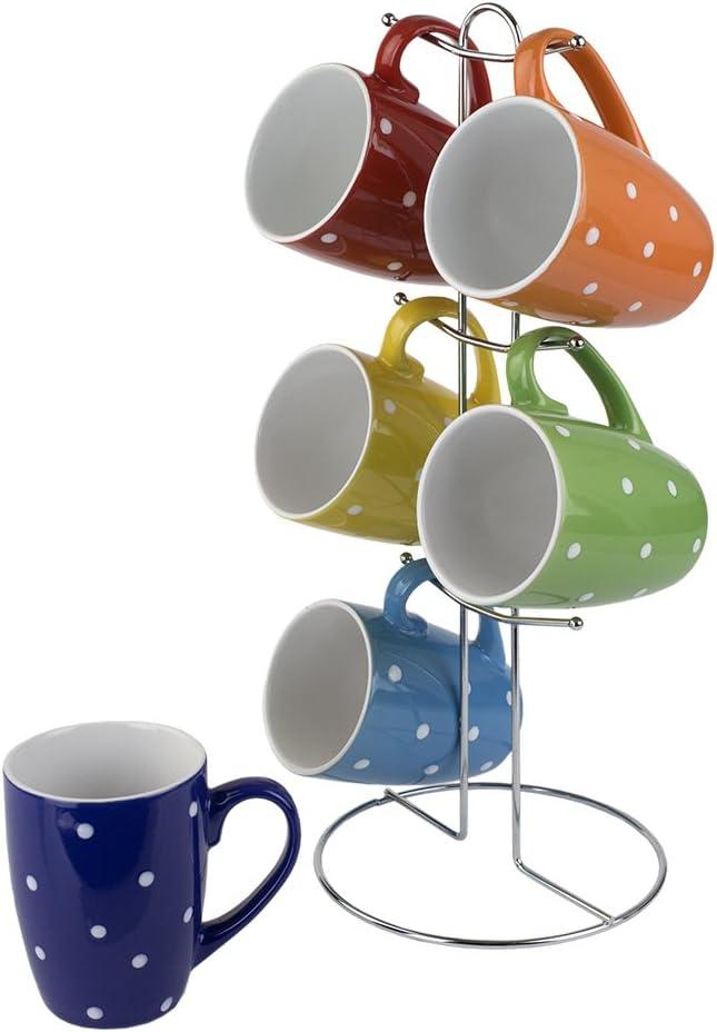 Home Basics 6 Piece Mug Set For Coffee, Tea, Hot Chocolate etc. with Display Stand (Polka Dots)