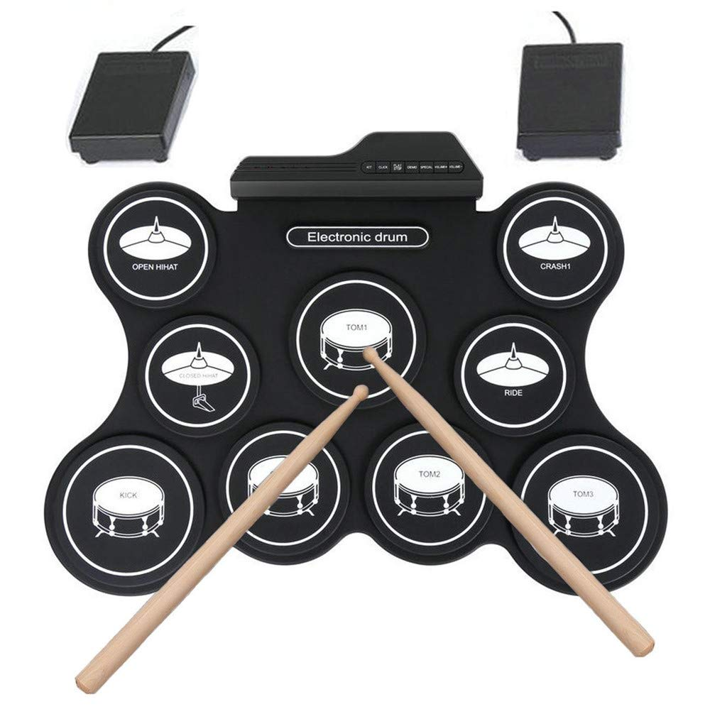 JFGUOYA Electronic Drum Set, 9 Pads Electric Drum Set with Headphone Jack, Built in Speaker, Drum Stick, Foot Pedals, Best Gift for Kids or Beginner Holiday Birthday by JFGUOYA (Image #4)