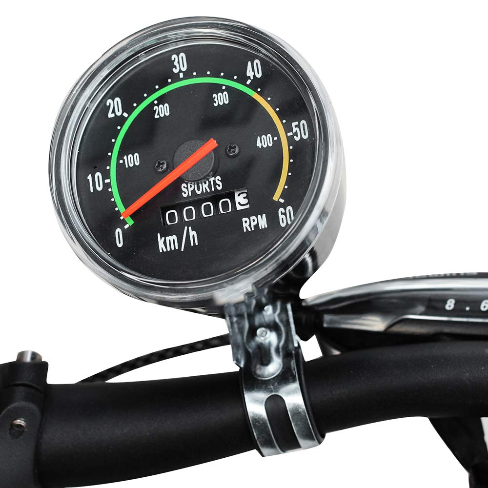 funchic Bicycle Speedometer Odometer, Classical Bicycle Computer Bike Mechanical Mountain Cycling Round Meter Gauges Stopwatch Waterproof Riding Equipment for Biking Cycling Accessories by funchic