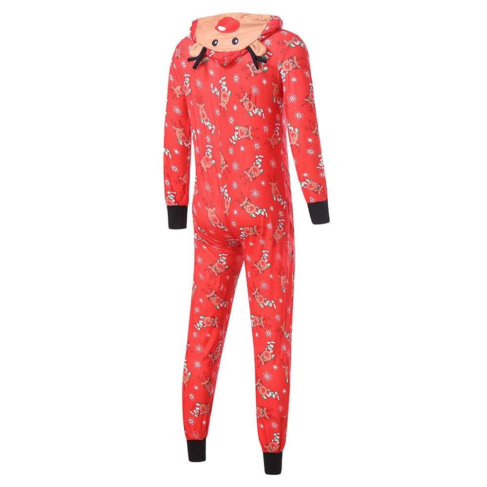 Christmas Pajamas XGao Family Christmas Pajamas Set Baby Boys Girls Hooded Romper Jumpsuit Family Pajamas Sleepwear Christmas Outfit Women Reindeer