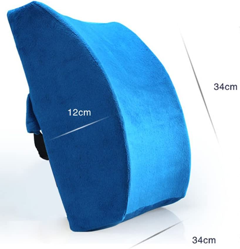 LoveHome Lumbar Support Pillow Back Cushion For Office Chair With Memory Foam And Velvet Cover Relief Lower Back Pain for Car Sofa Brown