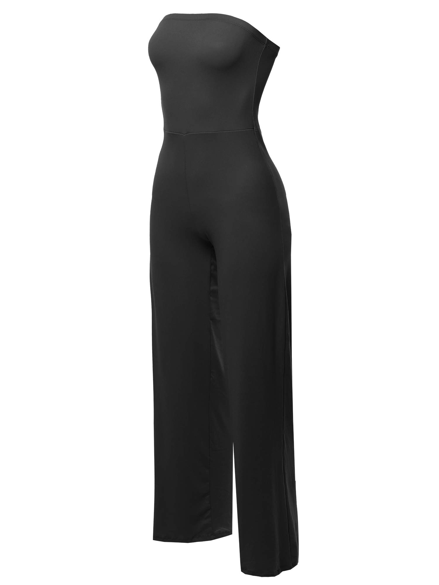 Made by Emma Casual Tube Top Strapless Stretchable Long Wide Leg Jumpsuit Black M