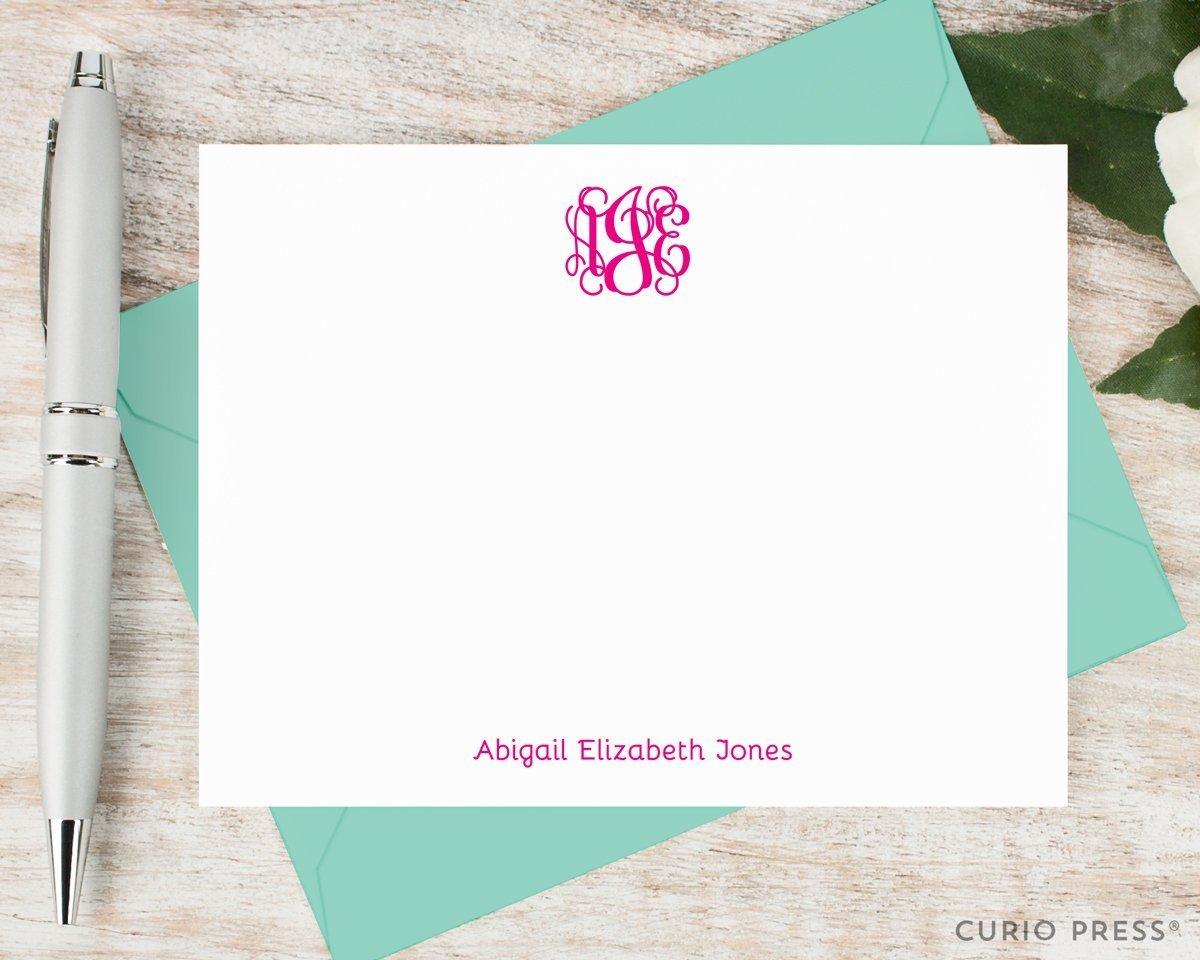 VINE MONOGRAM - Personalized Flat Preppy Stationery / Stationary Set