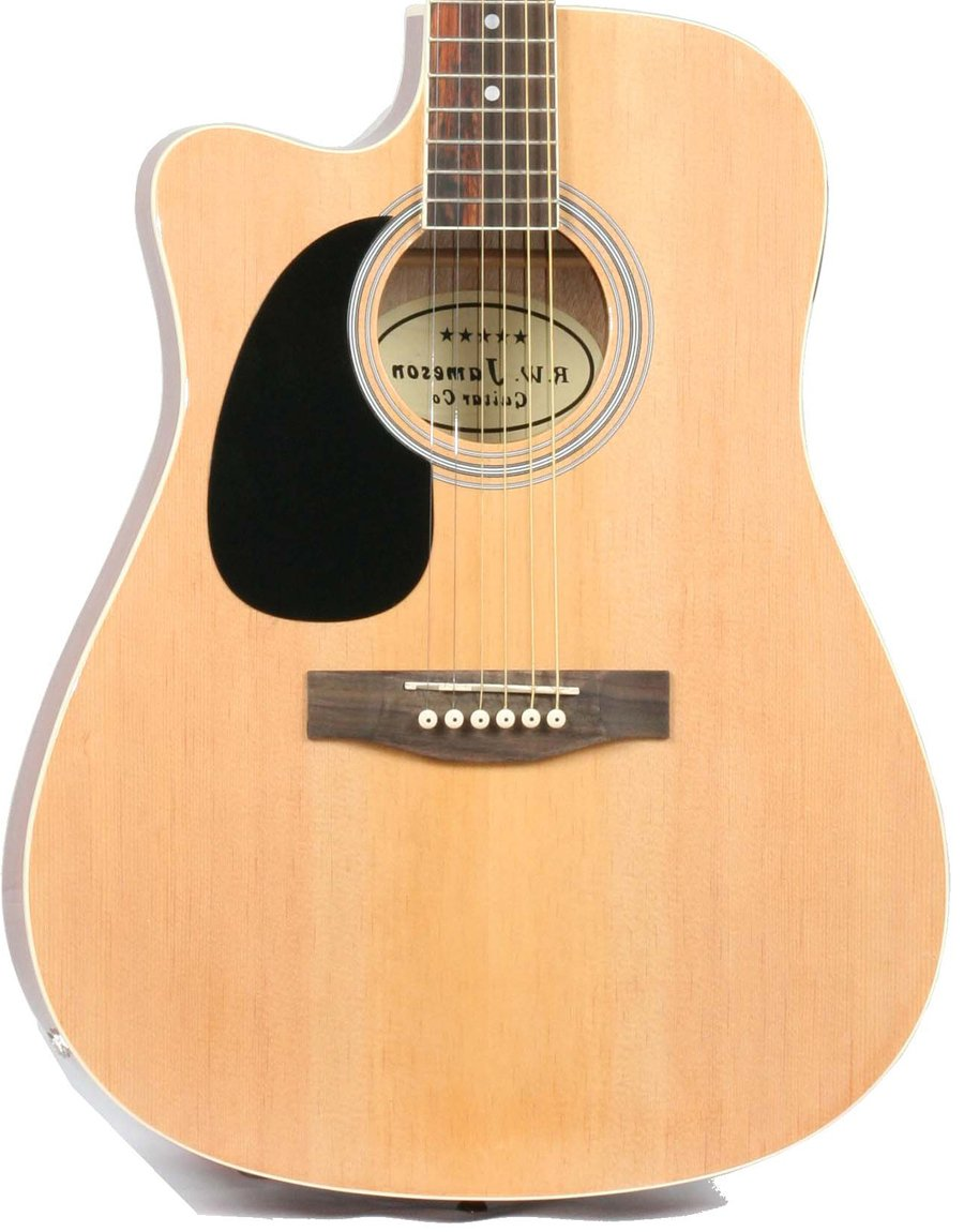 Jameson Guitars DRN979CTV LH NAT CSE Left Handed Full Size Thin line Acoustic Electric Guitar with Free Gig Bag Case & Picks Natural Finish