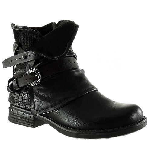 Angkorly – damen Schuhe Stiefeletten – Biker – Reitstiefel – Kavalier – Classic – Geflochten – String Tanga – Nieten – besetzt Blockabsatz high heel 3.5 CM