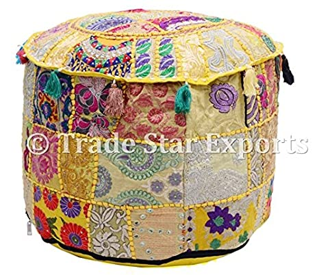 Indian Cotton Pouff Cover Vintage Footstools Handmade Home Decor Ottoman Cover Ottomans, Footstools & Poufs