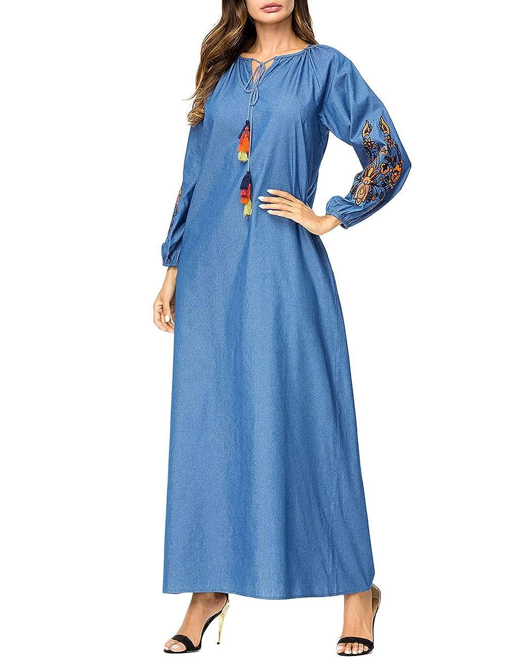 Zhhlinyuan Musulmanes Largo Bordado Vestir Ramadán Festival Suelto Batas - Fiesta Cóctel Vestido árabe Islámico Ropa: Amazon.es: Ropa y accesorios
