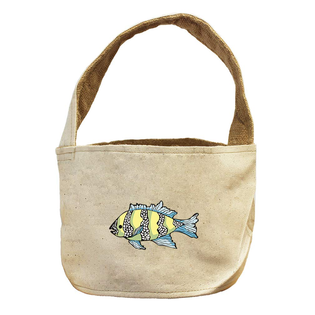 Style in Print Tropical Fish Green Blue Fins Animals Canvas and Burlap Storage Basket