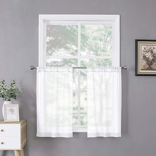 Tollpiz Short Sheer Tier Curtains Linen Textured Half Kitchen Curtain Sheers Light Filtering Rod Pocket Voile Small Curtain