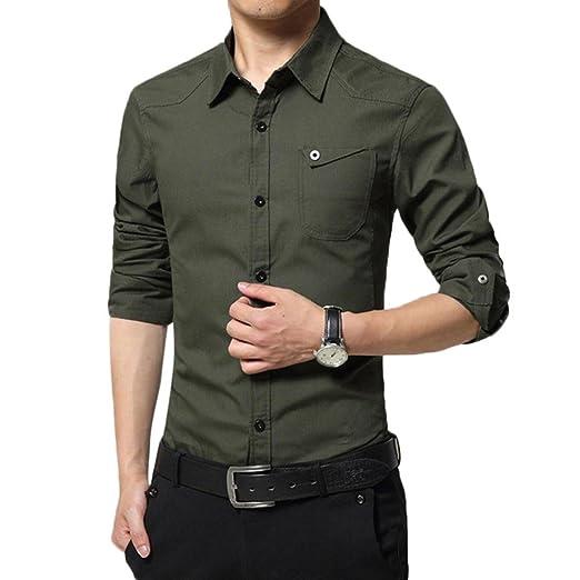 c66987334a Amazon.com  Sagton Mens Solid Shirts Long Sleeve