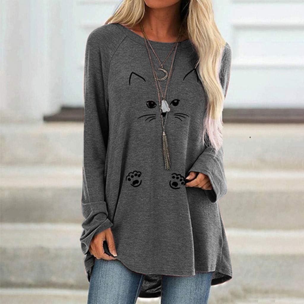 Lataw Women Shirts Fashion Sweatshirt Soft Plus Size Tops Print Round Neck Long Sleeved Long T-Shirt Leisure Sporty Blouse Clothes