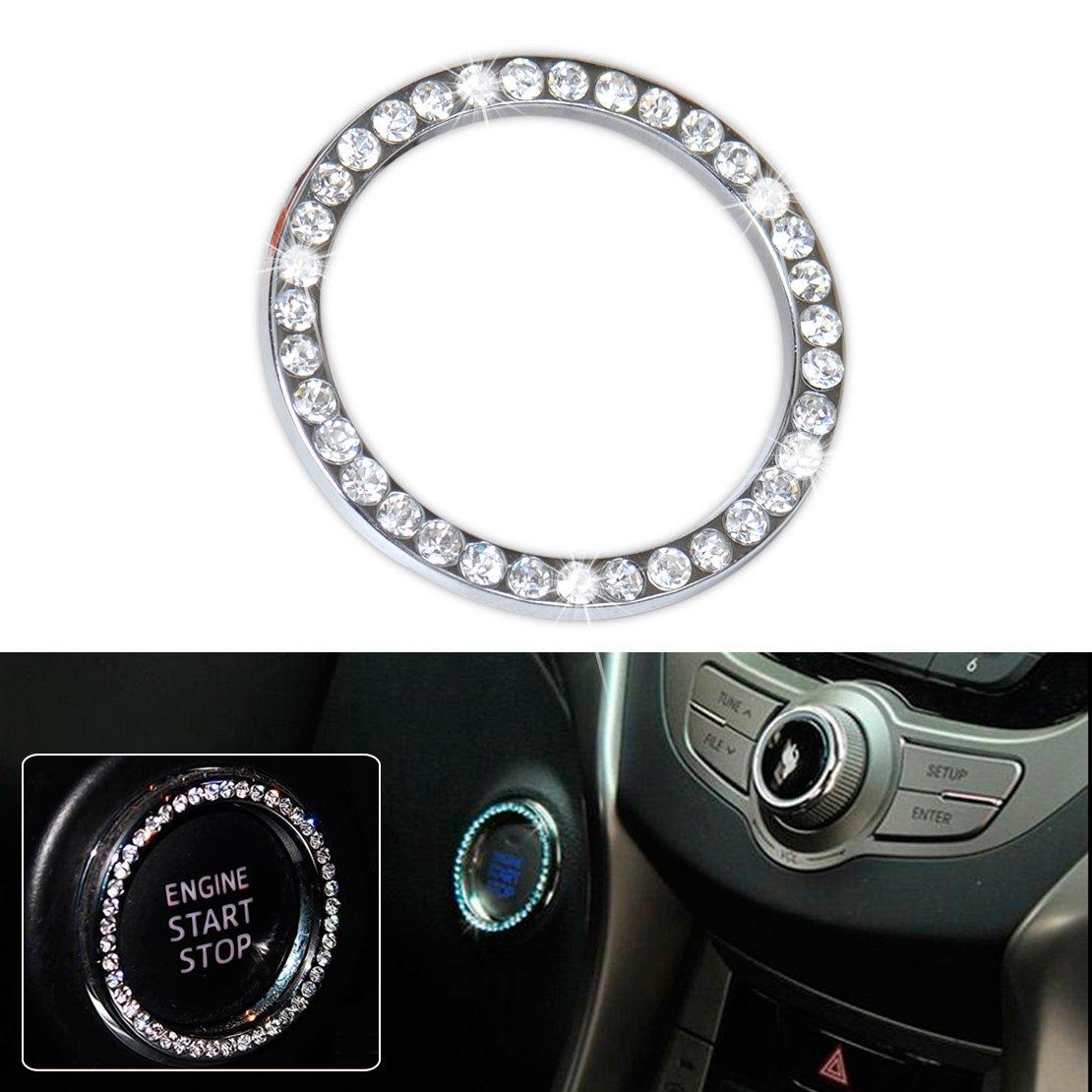 beler Rosa Car Dekorative Diamante Ring Innenraum One Key Motor Start Stop Z/ündung Push Button