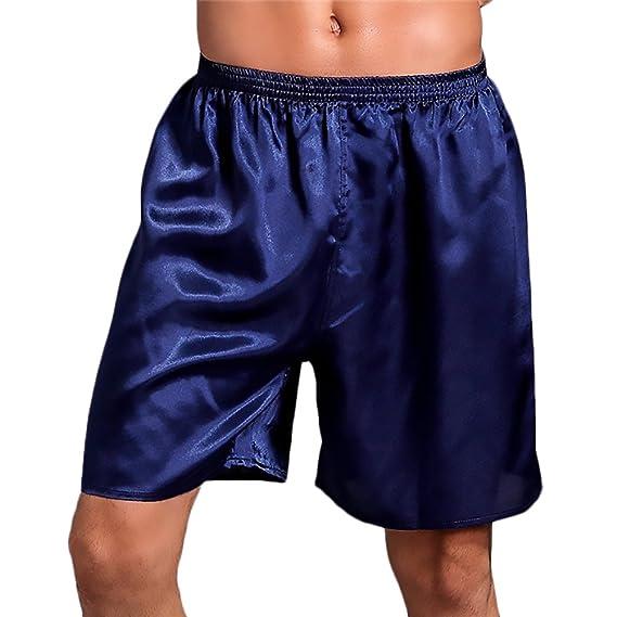 HX fashion Ropa De Dormir Pantalones Cortos Cintura Elástica Color Sólido Suelto Tallas Grandes Sencillos Diario