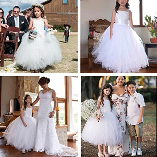 FAYBOX Pageant Wedding Flower Girl Dress Crossed Back Bow Feather Sash Fluffy White 2 by FAYBOX (Image #2)