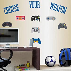 TOARTi Video Game Wall Decal (11 Decals),Gamer Gaming Quotes Stickers, Watercolor Controller Console Joysticks Wall Art for Boys Gamer Playroom Bedroom Home Decor