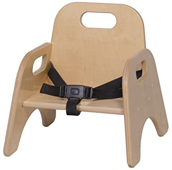 Wood Classroom Toddler Stackable Chair With Strap Seat Height: 5u0026quot;