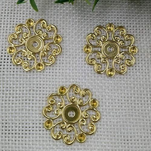 Calvas Wholesale 20mm Decorative Filigree Charms/Pendant Copper with Antique Bronze Fallen Petals Handmade,Parts Vintage Jewelry - (Item Diameter: MixColors 100pcs)