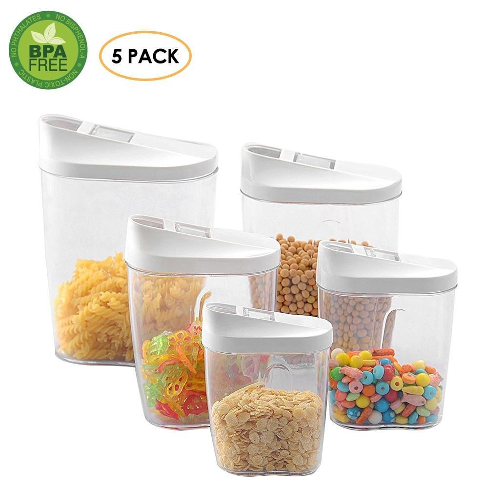 Pawaca ermetico contenitore alimentare set, Dry food Kitchen Storage dispenser barattolo–Misure assortite & slide-back coperchi, ideale per zucchero, tè, caffè, riso, pasta–Confezione da 5 pasta-Confezione da 5