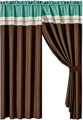 WPM WORLD PRODUCTS MART 4 Pieces Curtain Set Beige Coffee Brown Teal Luxury Embroidery Panels Drapes with tie Backs for Western Ranch Cowboy Room Windows- JENA