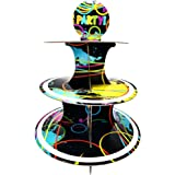 Glow Party Cupcake Stand & Pick Kit, Glow Party Supplies, Decorations, Birthdays, Cake Decorations, 3 Tier Cardboard