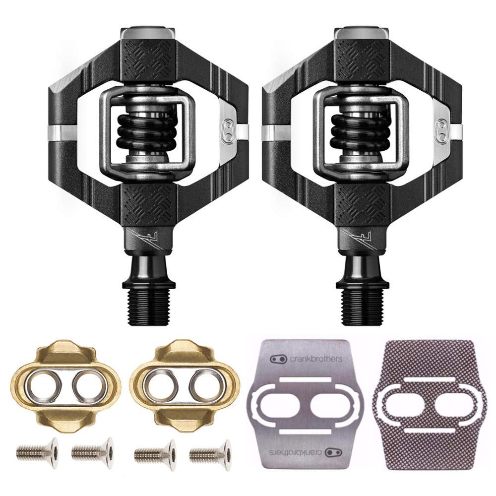 Crank Brothers Candy 7 MTB Mountain Bike Pedals (Black) with Premium Cleats and Shoe Shields Pair