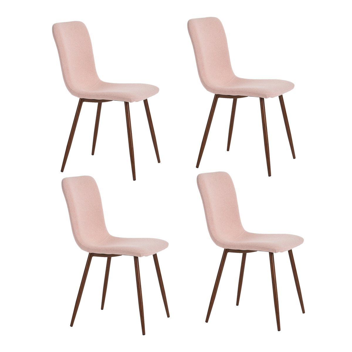 HOMYCASA Set of 4 Dining Chairs Retro Style Fabric Seat & Back with Metal Legs PVC Coating Kitchen Dining Room Chairs (Pink)