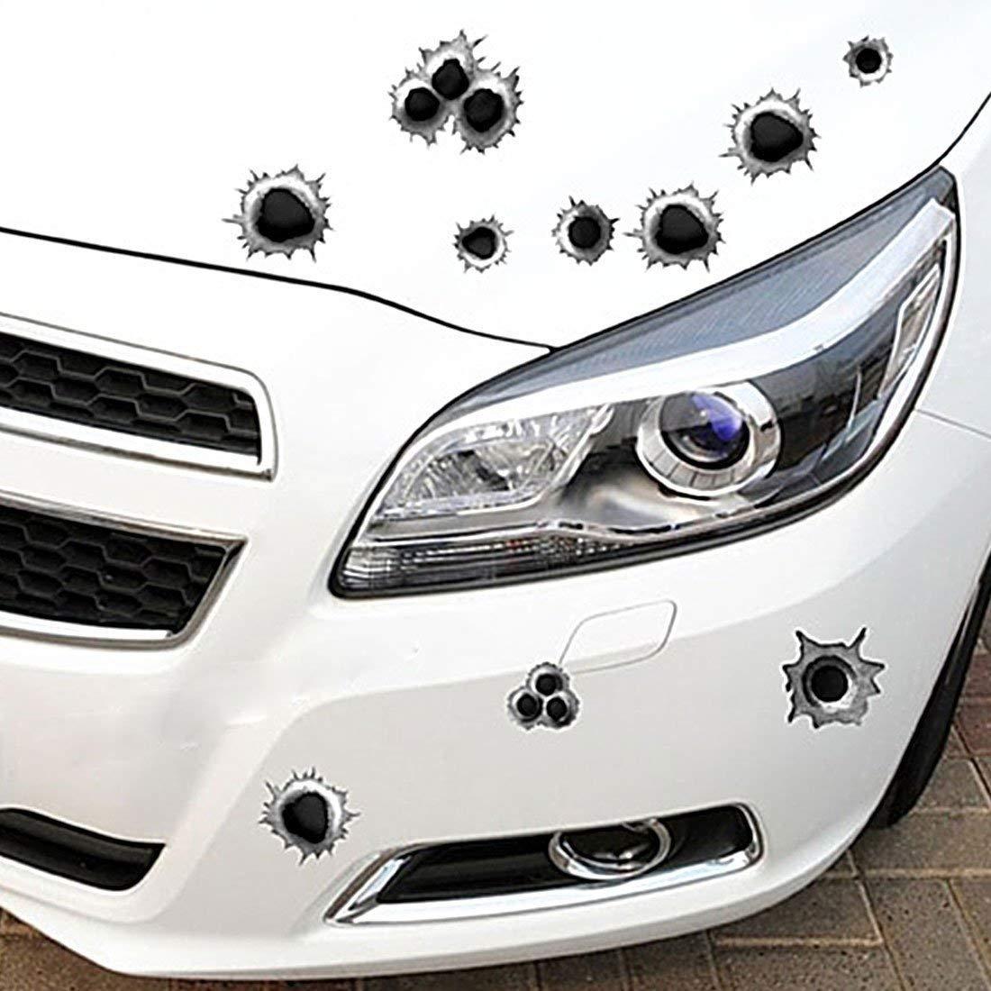 Car Stickers Home Simulazione del Foro di pallottola dellautoadesivo dellautoadesivo dellautomobile 3D Decorazione Autoadesivo dellautoadesivo A