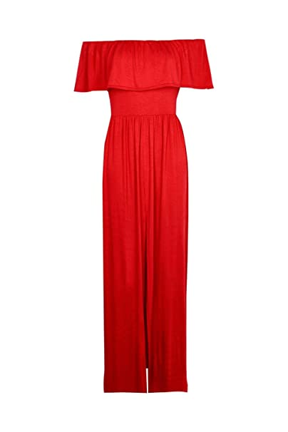33e1ba61fef4 Boohoo Womens SIA Ruffle Bandeau Slip Front Maxi Dress In Red Size 8 ...