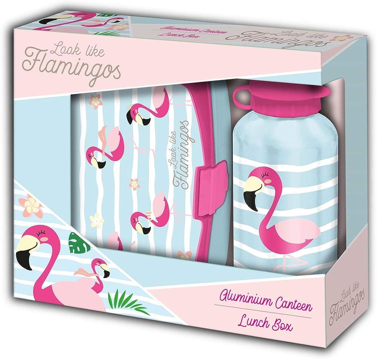 Kids Licensing- Set Regalo Flamingo SANDWICHERA Y Botella 500 ML, Multicolor, 40 cm (KL10034)