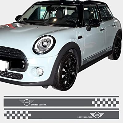 Charminghorse 2pcs Styling Car Side Racing Stripe Sill Skirt Vnyl Decal Stickers Limited Edition for Mini Cooper R50 R52 R53 R56 R57 R58 R59 2-Door (Silvergrey): Automotive