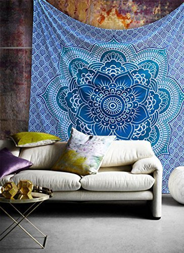 Popular Handicrafts Ombre Hippie Mandala Bohemian Psychedelic Intricate Floral Design Indian Bedspread Magical Thinking Tapestry 84x90 Inches,(215x230cms) Blue Turquish
