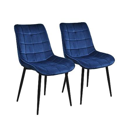 Amazon.com: Dinning Chairs Set of 2 Velvet Navy Blue,JULYFOX ...