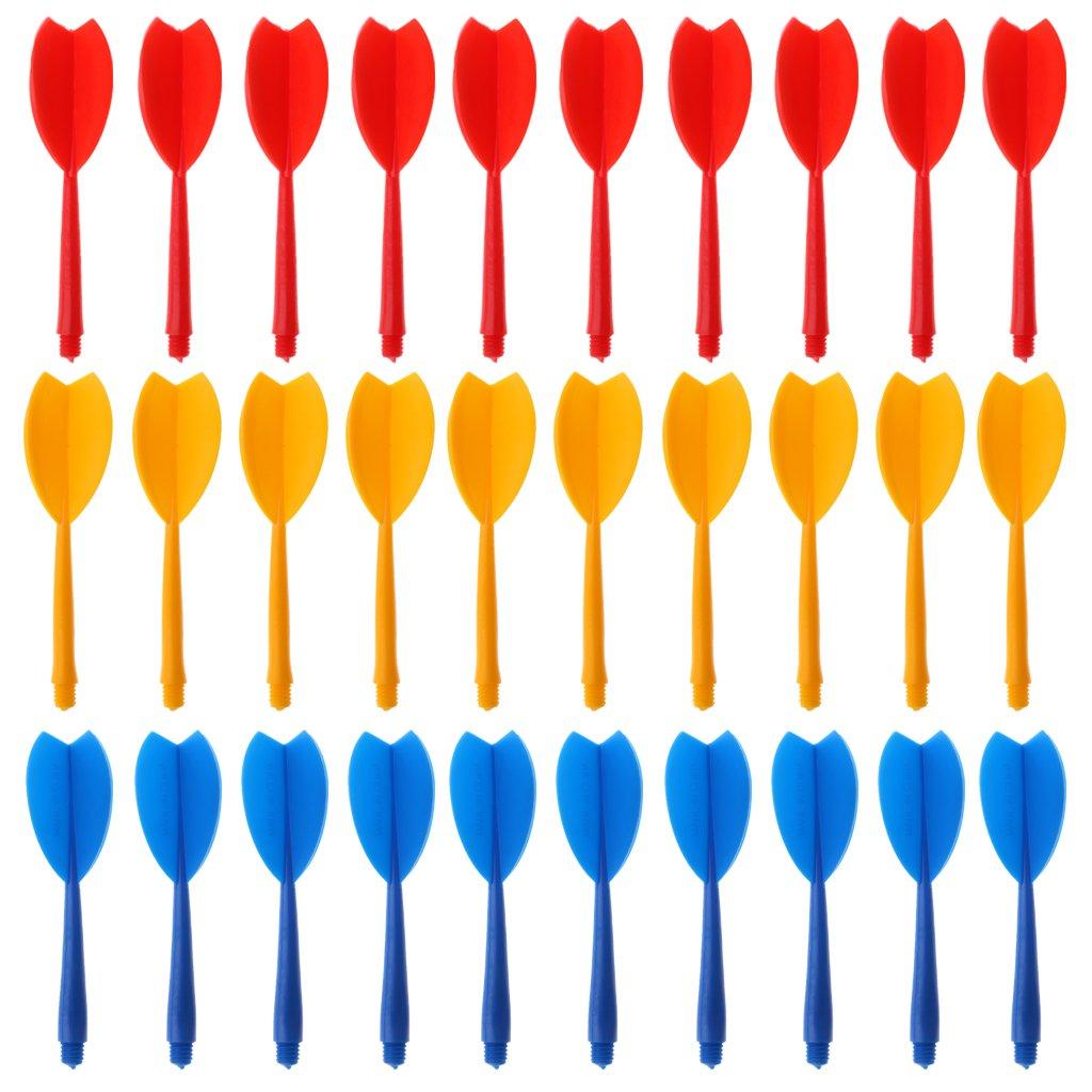 perfk 30 Pezzi Set Composto Freccette Albero in Plastica Resistente Leggero Accessori Bersaglio Freccette Rosso Giallo Blu