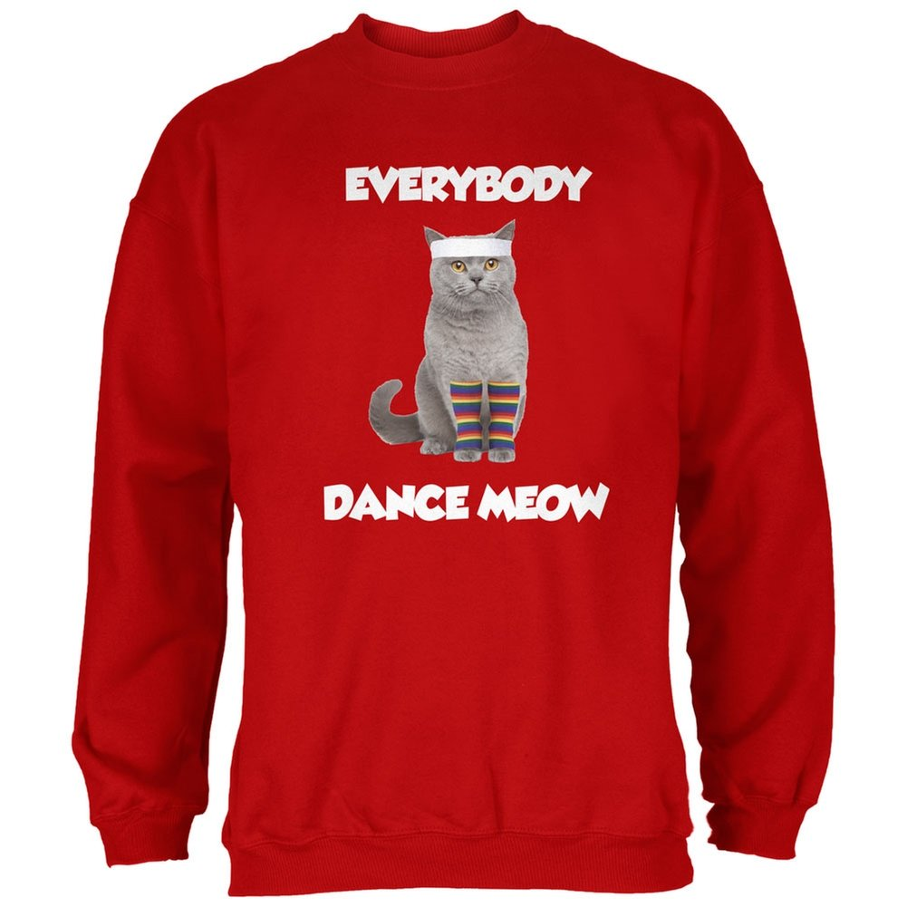Everybody Dance Meow Red Adult Sweatshirt
