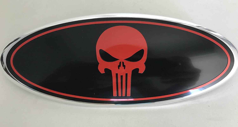 Exotic store F-9SKB Black Punisher Modified Emblem For FORD EXPLORER EDGE F-150 F-250 F350 Rear OVAL Punisher EMBLEM FRONT GRILLE Tailgate Rear 9 Inch Badge Black + Chrome Line